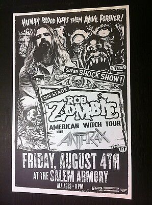 Rob Zombie Anthrax White Zombie Rare Salem Armory Concert Flyer Gig Poster