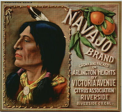 NAVAJO Vintage Orange Crate Label *An Original Fruit Crate Label*, Indian, wn