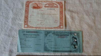 2 Distilled Spirits for Exportation & Import Blank Certificates United States