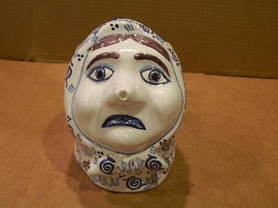 Large Portugal Pottery Woman's Head Pitcher Blue on White Artist Signed Vintage