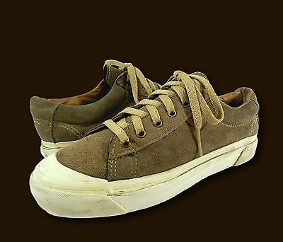Vtg 1990s VANS USA Tan Suede Skate Skateboarding Lug Sole Sneakers Shoes