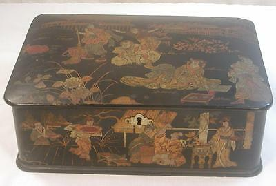 Fine Rare Antique Old Chinese Asian Black Lacquer Desk Table Box Decorated Large