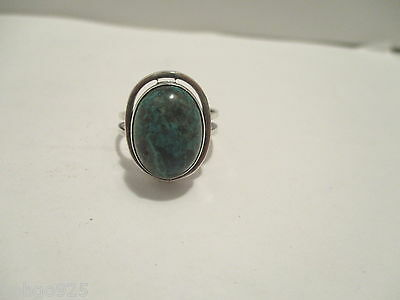 Ring Eilat Oval Cabochon Stone Mottled Blue Green Sterling Silver Israel 9.5 +