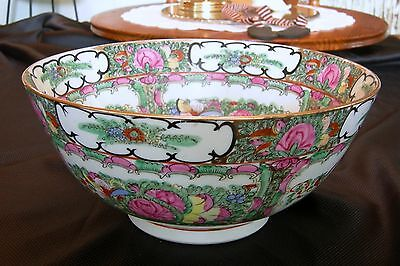 Large JAPANESE PORCELAIN WARE ACF DECORATED IN HONG KONG ROSE MEDALLION BOWL