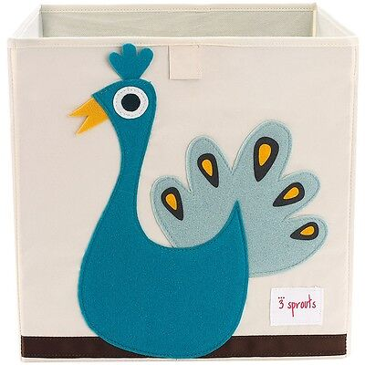 3 Sprouts Storage Box Peacock - Blue