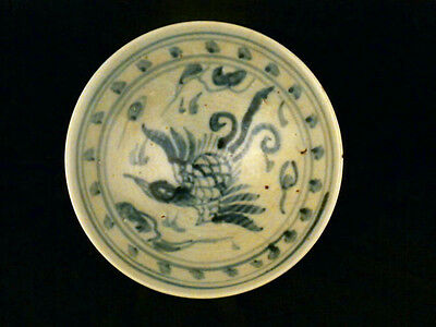 Large Chinese Ming Dy Blue & White Porcelain *Phoenix* Bowl