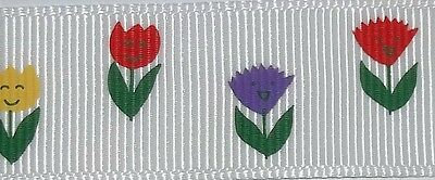 """4 metres of 22mm 7/8"""" wide  Happy Face Carnations pattern Grosgrain Ribbon White"""