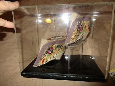 Chinese Lotus Silk Embroidered Bound Feet Binding 19th Century w/Display Box