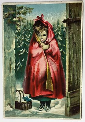 """H2615    Harrisville,  Pa.  Victorian Trade Card,  """" Little Red Riding Hood """""""