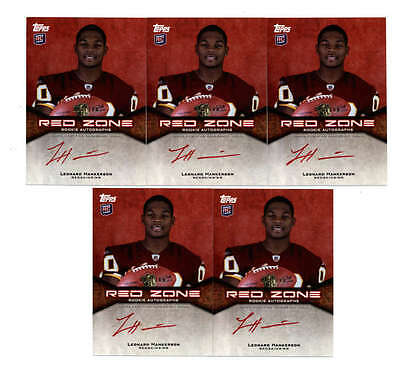 Lot (5) Leonard Hankerson 2011 Topps Red Zone Rookie Auto #/100 (Bv=$125) H5167