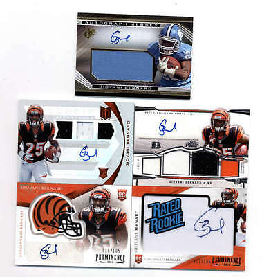 LOT OF (9) GIOVANI BERNARD 2013 ROOKIE AUTOGRAPH and AUTO JERSEY RC #ED H5169
