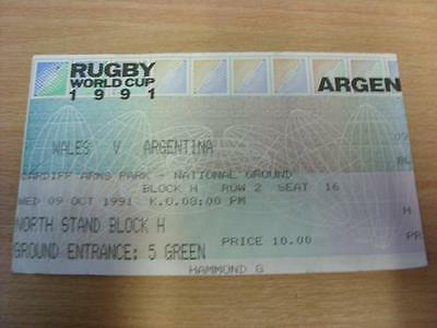 09/10/1991 Rugby World Cup 1991 - Wales v Argentina [At Cardiff Arms Park] [Rugb