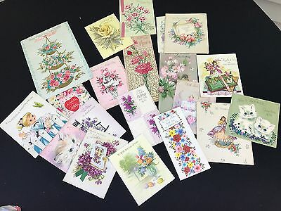 Lot Of 20 Vintage 50's Or 60's Era Mother's Day & Birthday Greeting Cards