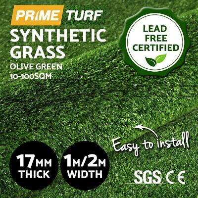 Primeturf 20-100SQM Artificial Synthetic Grass Turf Plant Fake Lawn 17mm Olive