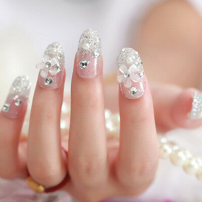 3D Bride Wedding False Artificial Fake Nails Tips French White Stud Finger WB