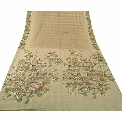 Sanskriti Vintage 100% Pure Silk Saree Cream Painted Sari Craft 5 Yard Fabric