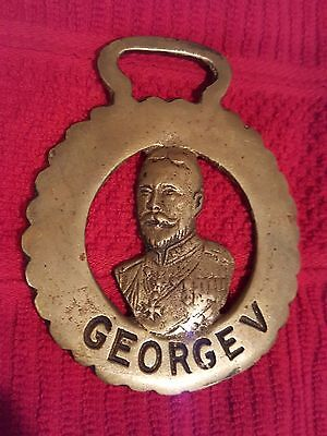 Vintage Brass Horse Harness Medallion Ornament Tack - King George V