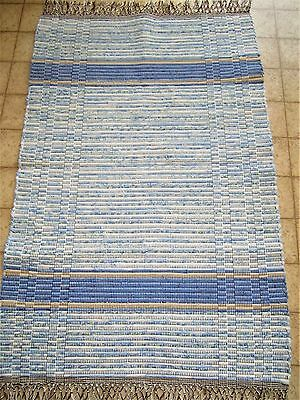 "New Rag Rug  Blue Tightly Hand Woven on Floor Loom 27"" x 42"" (with fringe 47"")"