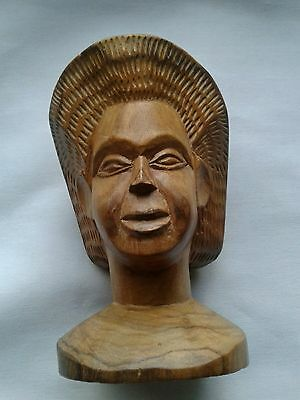 Vintage Hand Carved African Art Wooden Woman Head Bust Figure Carving