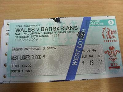 24/08/1996 Wales v Barbarians [At Cardiff Arms Park] [Rugby Union Ticket] (folde