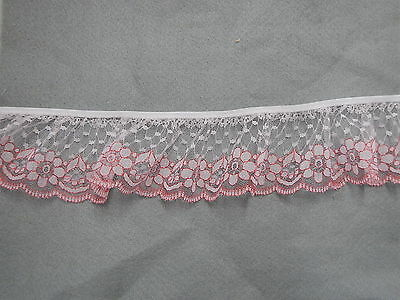 Gathered Lace White/Red 5 metres (2231)
