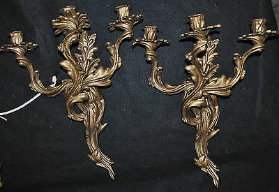 Pair Vintage Mid Century Brass Gold Ornate Rococo Candle Holder Wall Sconces
