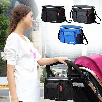 Baby Kids Stroller Pram Diaper Hanging Bag Safety Tray Bottle Cup Holder Storage