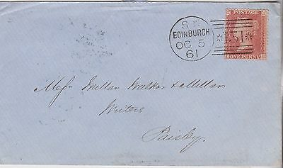 1861 QV EDINBURGH COVER WITH FINE 1d PENNY RED STAMP MAILED TO PAISLEY