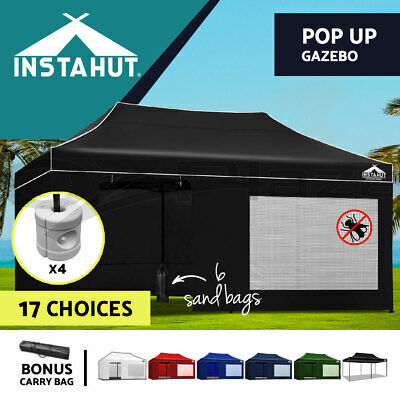 3x6m Gazebo Outdoor Pop Up Tent Folding Marquee Party Wedding Camping Canopy
