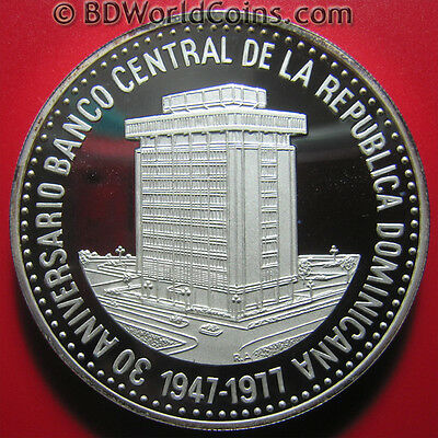 1977 DOMINICAN REPUBLIC 30 PESOS 2.3oz SILVER PROOF CENTRAL BANK HUGE COIN! 50mm