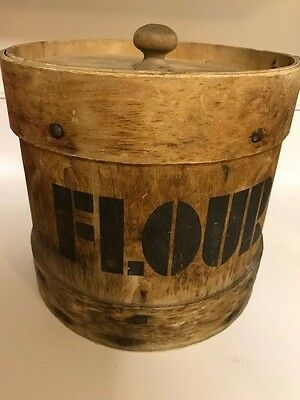 Antique Bent Wood Shaker Handmade Round Wooden Flour Pantry Canister