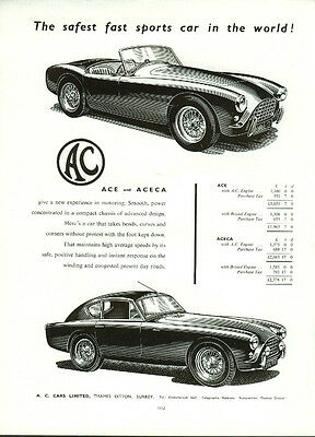 The safest fast sports car in the world A C Ace & Aceca ad 1956