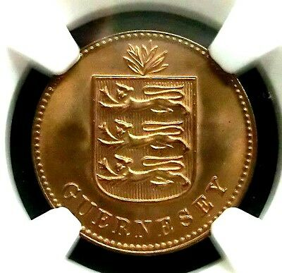 Guernsey 1933H Arms NGC MS66RD Super GEMBU Double Scarce