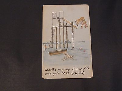 WW2 Era Hand Painted Water Colour Humerous Postcard Posted 11th June 1939