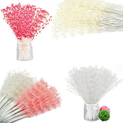 100 Stems Plastic Wedding Flower Bouquet Pearl Spray Bead Tiaras Corsage Decor