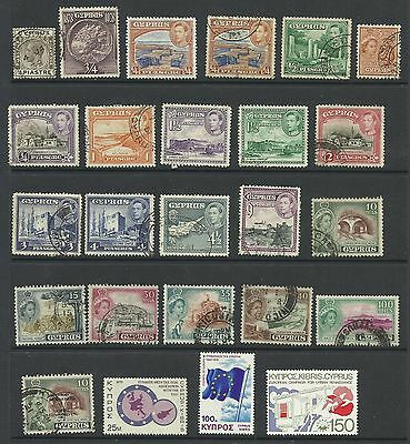 A Selection of Odd Mounted Mint & Used Cyprus Stamps on Hanger page.