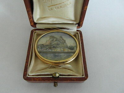 Rare Beautiful Large Victorian Antique Gold Brooch Pin - Painted Scene - Veniere