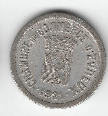 France D`evreux 10 Cents 1921 Token       305D                  By Coinmountain