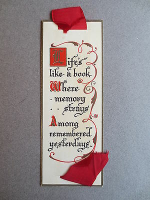 BOOKMARK Vintage Greetings Life's Like A Book Where Memory Strays Calligraphy