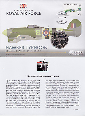 2008 Proof Crown First Day Coin Cover History of the RAF Hawker Typhoon FDC COA