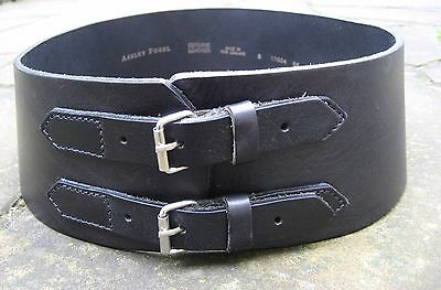 Ashley Fogel Wide Black Leather Curved Belt womens 2 small strap buckles – S