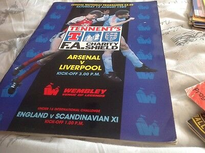 Football Programme Arsenal V Liverpool 1989 Charity Shield