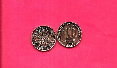 Philippines Km270.1 1997 Unc-Uncircuated Mint-Bu 10 Sentimos Coin