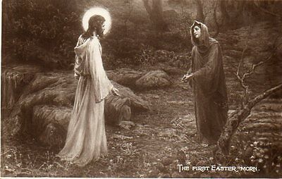 VINTAGE postcard of THE FIRST EASTER MORN Christ & Mary Magdalene