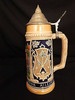"#6419 German Glazed Stoneware Beer Stein Tankard with Pewter Lid - 11"" Tall"