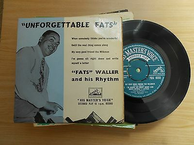 """""""fats"""" Waller And His Rhythm=""""unforgettable Fats""""   E.p.  P/c  Ex"""