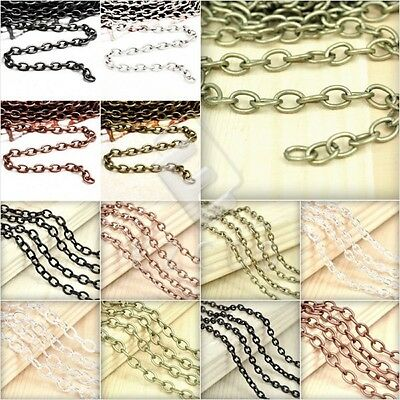 2/4m Open Link Unfinished Bulk Chains Necklace Cable Chain Jewellery Makings HC