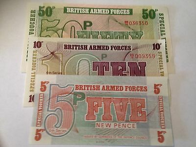 6TH SERIES 5p + 10p + 50p BRITISH ARMED FORCES BANK NOTE