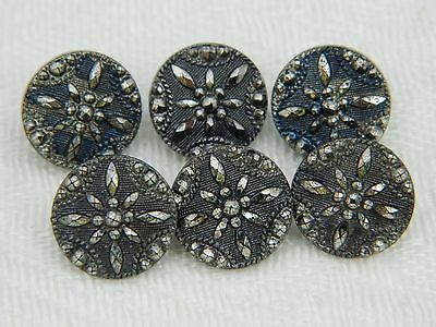 LOT Set Vintage ANTIQUE GLASS BUTTONS stylized Snowflake Black w/ Silver Luster