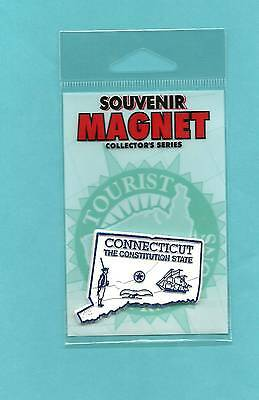 """CONNECTICUT """"THE CONSTITUTION STATE""""  CT  OUTLINE MAP MAGNET in Souvenir Bag NEW"""